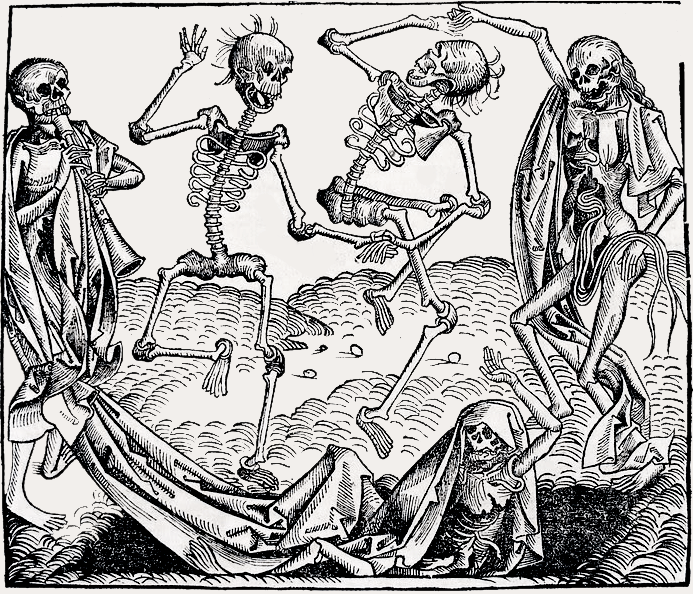 Woodcut_Danse_macabre_by_Michael_Wolgemut_AD_1493